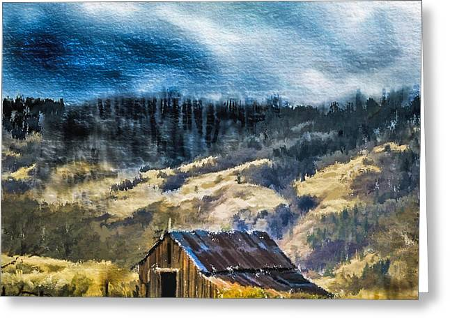 Barn Digital Art Greeting Cards - Small Barn in the Hills Greeting Card by Dale Stillman