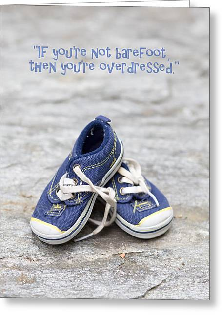Trainer Greeting Cards - Small blue sneakers Greeting Card by Edward Fielding