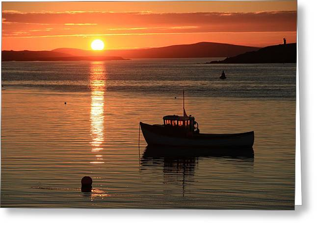 Reflection Of Sun In Clouds Greeting Cards - Small Boat At Moorings In The Sunset Greeting Card by Anne Macdonald
