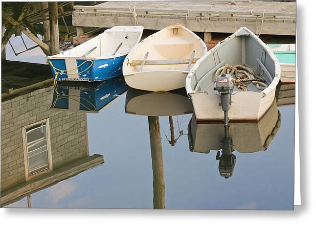 Nautical Vessel Greeting Cards - Small Boats and Dock in Port Clyde Maine Greeting Card by Keith Webber Jr