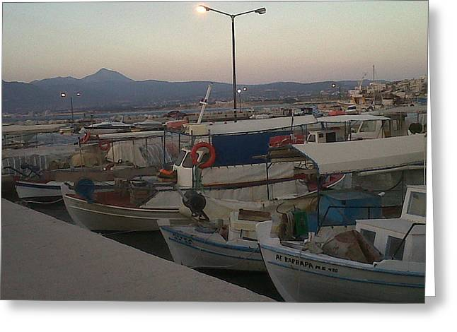 Andreea Alecu Greeting Cards - small boats at sunset in Corinthos         Greeting Card by Andreea Alecu
