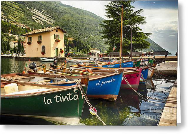 Small House Greeting Cards - Small Boats in a Harbor at Lake Garda Greeting Card by George Oze