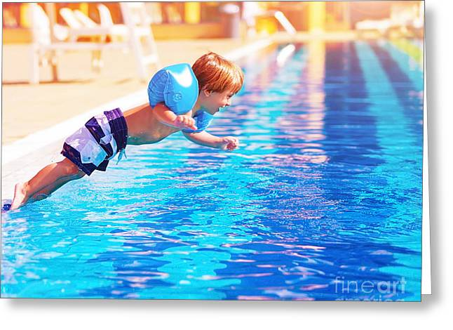 Poolside Greeting Cards - Small boy jumping to the pool Greeting Card by Anna Omelchenko