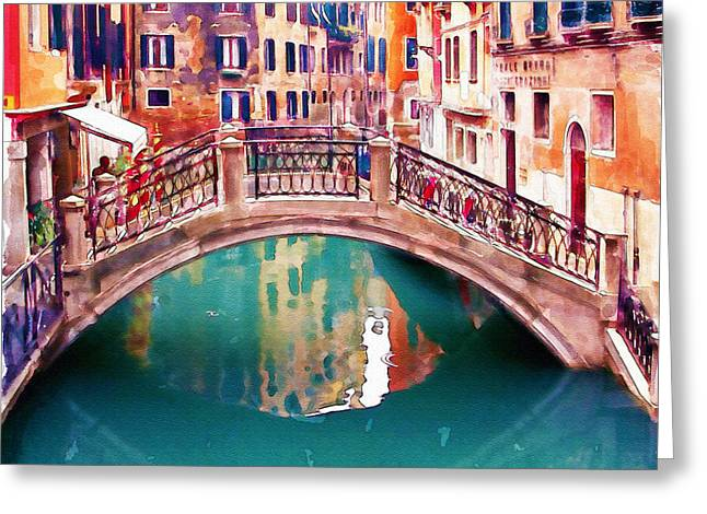 Photo-realism Greeting Cards - Small Bridge in Venice Greeting Card by Marian Voicu