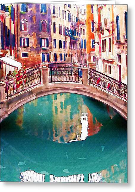 Italian Landscapes Digital Greeting Cards - Small Bridge in Venice Greeting Card by Marian Voicu
