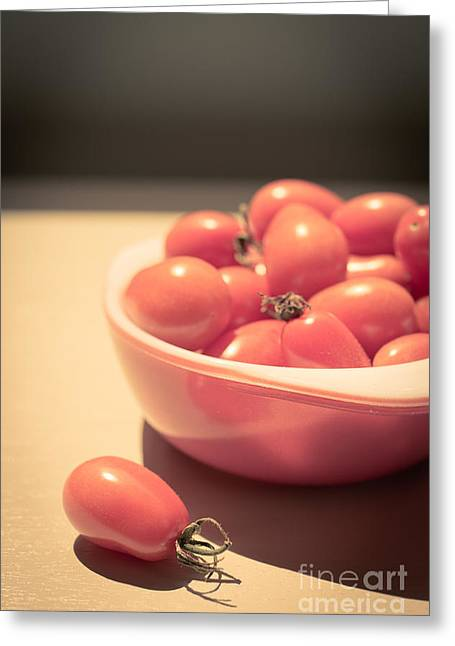 Fresh Picked Fruit Greeting Cards - Small cherry tomatoes in a bowl Greeting Card by Edward Fielding