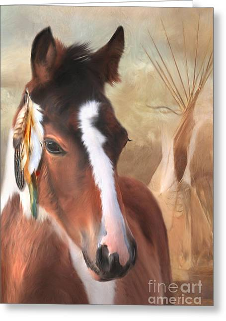 Gypsy Cob Greeting Cards - Small Chief Little Feathers Greeting Card by Trudi Simmonds
