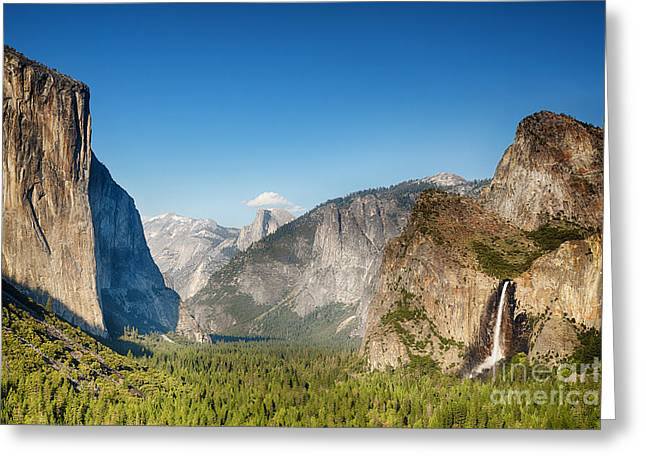 Small clouds over the Half Dome Greeting Card by Jane Rix