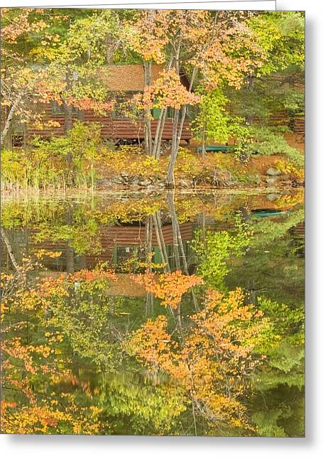 Fall Colors Greeting Cards - Small Cottage on Fall Torsey Pond Readfield Maine Greeting Card by Keith Webber Jr