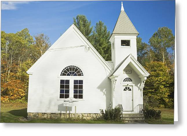 Oldest Living Tree Greeting Cards - Small Country Church In Fall Maine Greeting Card by Keith Webber Jr