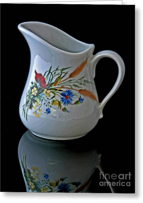 Glass Reflecting Greeting Cards - Small Cream Pitcher on Black Background Greeting Card by Valerie Garner