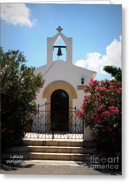 Small Crete Chapel Greeting Card by Lainie Wrightson