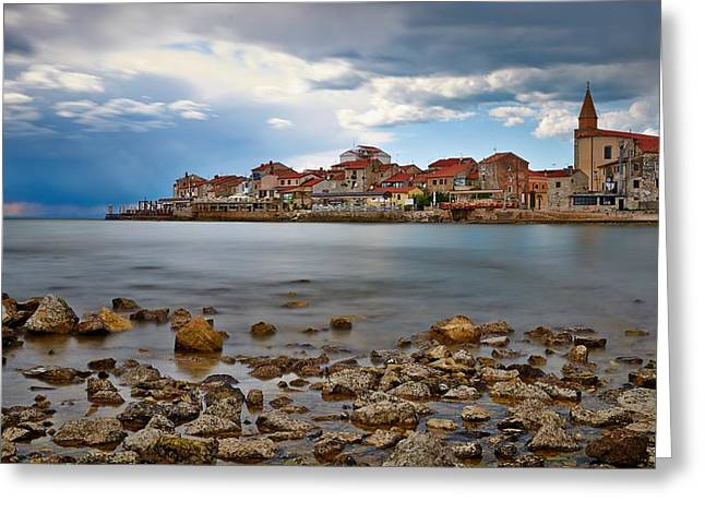 Foggy Beach Greeting Cards - Small Croatian Town Umag Greeting Card by Dejan Stojakovic