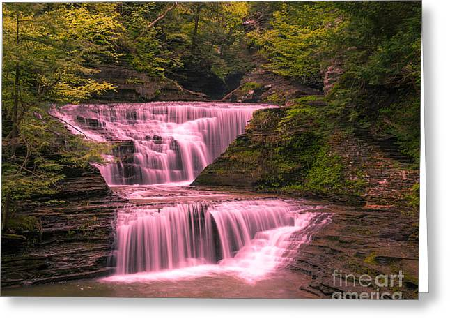 Buttermilk Falls State Park Greeting Cards - Small Fall at Buttermilk Greeting Card by John Naegely