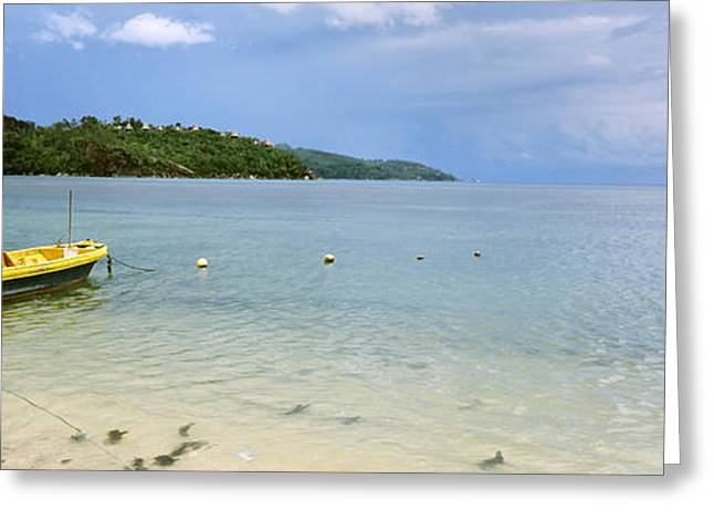Ocean Photography Greeting Cards - Small Fishing Boat In The Ocean, Baie Greeting Card by Panoramic Images