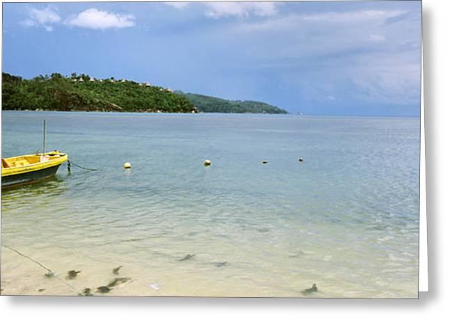 Panoramic Ocean Greeting Cards - Small Fishing Boat In The Ocean, Baie Greeting Card by Panoramic Images