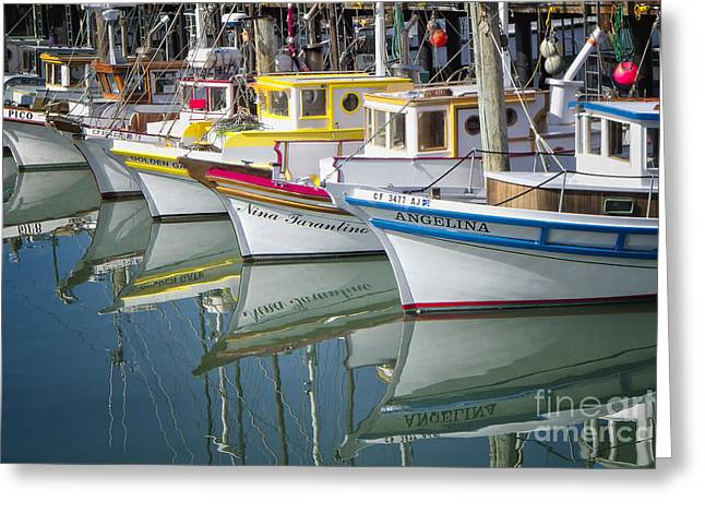 Boats On Water Greeting Cards - Small Fishing Boats of San Francisco  Greeting Card by George Oze