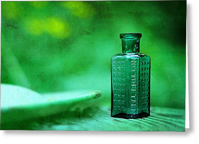 Embossed. Greeting Cards - Small Green Poison Bottle Greeting Card by Rebecca Sherman