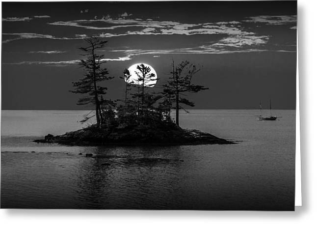 Sailboat Art Greeting Cards - Small Island at Sunset in Black and White Greeting Card by Randall Nyhof