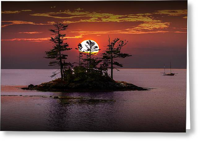 Sailboat Art Greeting Cards - Small Island at Sunset Greeting Card by Randall Nyhof
