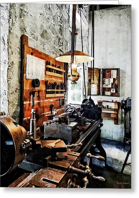 Steam Punk Greeting Cards - Small Lathe in Machine Shop Greeting Card by Susan Savad