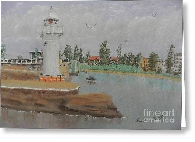 Pamela Meredith Greeting Cards - Small Lighthouse at Wollongong Harbour Greeting Card by Pamela  Meredith