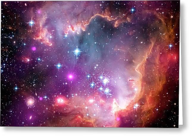 Small Magellanic Cloud Greeting Card by Nasa/cxc/jpl-caltech/stsci