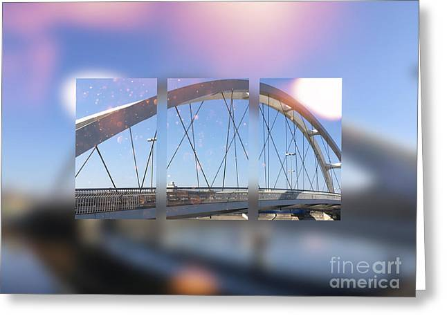 Small Modern White Bridge Greeting Card by Beverly Claire Kaiya
