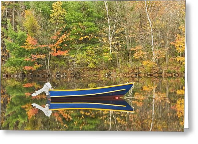 Woodland Scenes Greeting Cards - Small Motor Boat in Fall Torsey Pond Readfield Maine Greeting Card by Keith Webber Jr