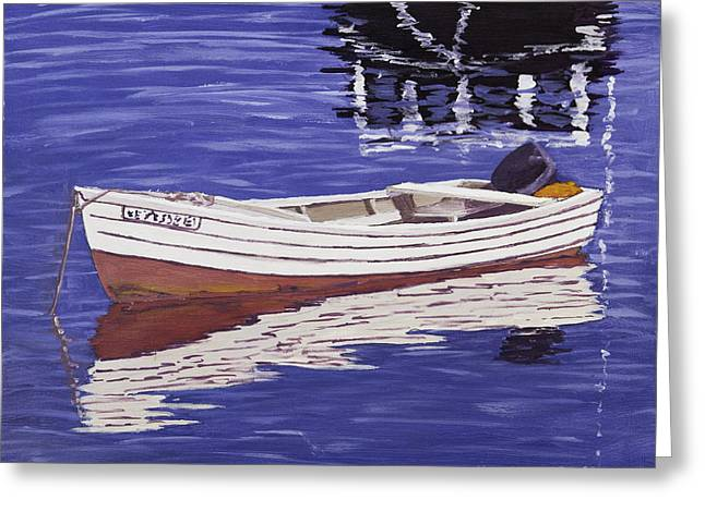 Mirror Reflection Greeting Cards - Small Motor Boat in Maine Harbor  Greeting Card by Keith Webber Jr