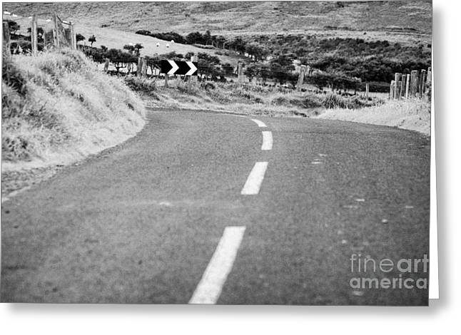 small narrow country road leading to dangerous bend in county antrim northern ireland Greeting Card by Joe Fox