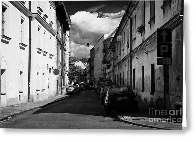 Polish City Greeting Cards - Small Narrow Street With On Street Parking In The Kazimierz District Of Krakow Greeting Card by Joe Fox