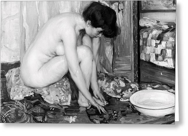 Worcester Greeting Cards - SMALL NUDE painting by Albert Worcester c. 1910 Greeting Card by Daniel Hagerman