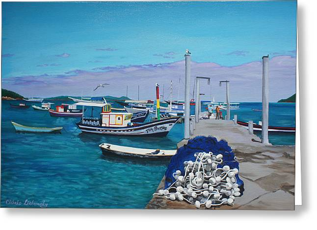 Chikako Hashimoto Lichnowsky Greeting Cards - Small pier in the afternoon-BUZIOS Greeting Card by Chikako Hashimoto Lichnowsky