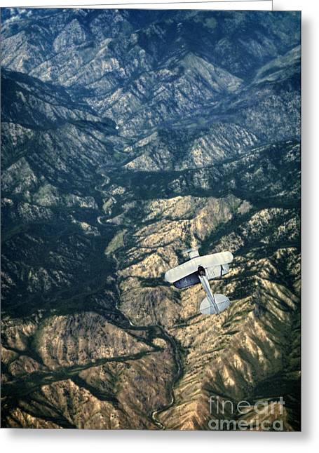 Bi Plane Greeting Cards - Small Plane Flying Over Mountains Greeting Card by Jill Battaglia