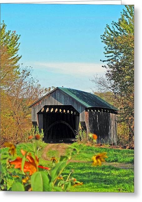 Small Private Country Bridge Greeting Card by Barbara McDevitt
