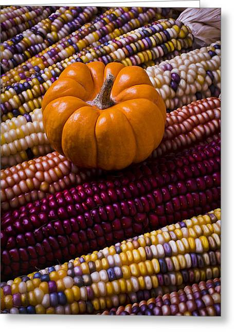 Small Photographs Greeting Cards - Small pumpkin and Indian corn Greeting Card by Garry Gay