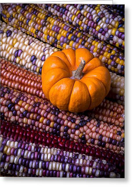 Small Photographs Greeting Cards - Small pumpkin with Indian corn Greeting Card by Garry Gay