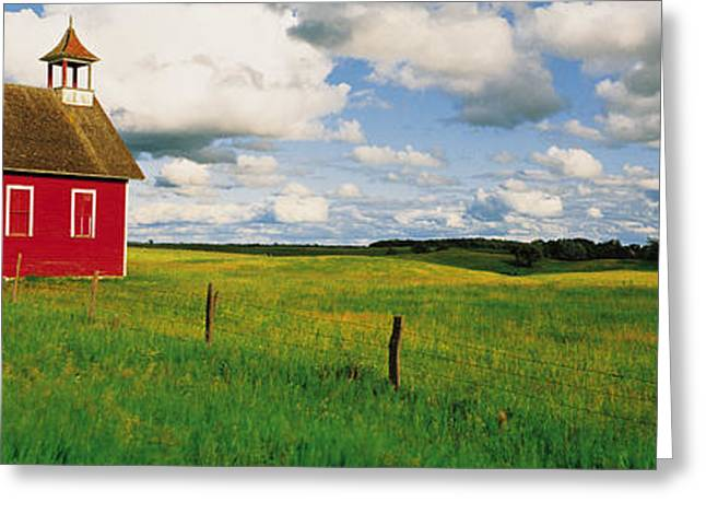 Small Red Schoolhouse, Battle Lake Greeting Card by Panoramic Images