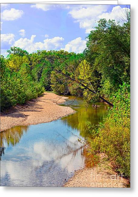 Reflection In Water Greeting Cards - Small river Greeting Card by Debbie Portwood