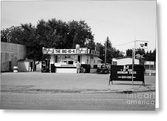 Local Food Photographs Greeting Cards - small roadside diner leader Saskatchewan Canada Greeting Card by Joe Fox