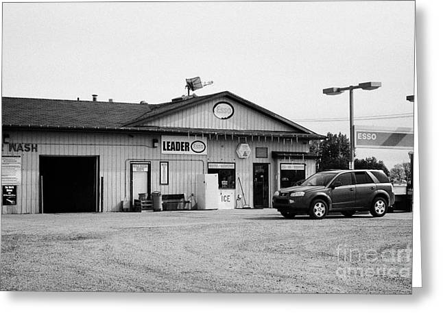 Esso Greeting Cards - small roadside esso service gas station leader Saskatchewan Canada Greeting Card by Joe Fox