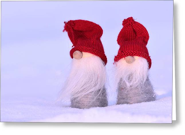 White Mittens Greeting Cards - Small Santa Claus Greeting Card by Toppart Sweden
