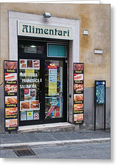 Alimentari Greeting Cards - Small shop Greeting Card by Francois Dumas
