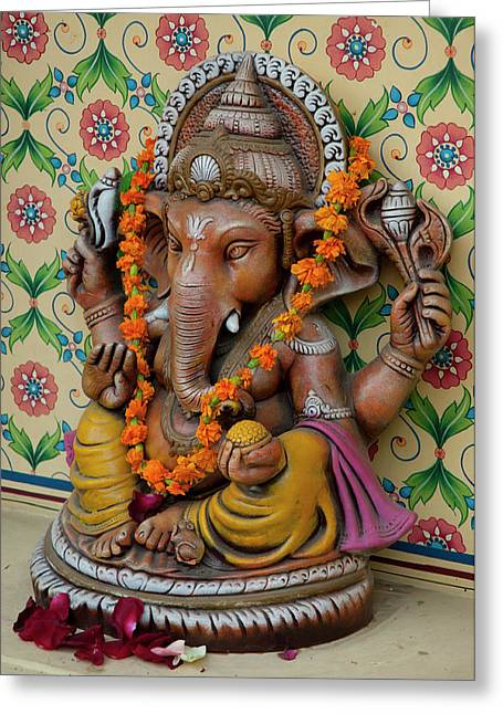 Small Shrine To Ganesh, Jaipur Greeting Card by Inger Hogstrom