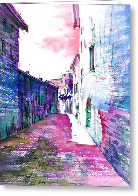 small streets of the city of Gubbio-1 Greeting Card by Khromykh Natalia