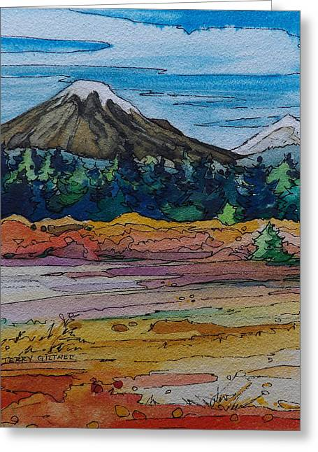 Fall River Scenes Mixed Media Greeting Cards - Small Sunriver Scene Greeting Card by Terry Holliday