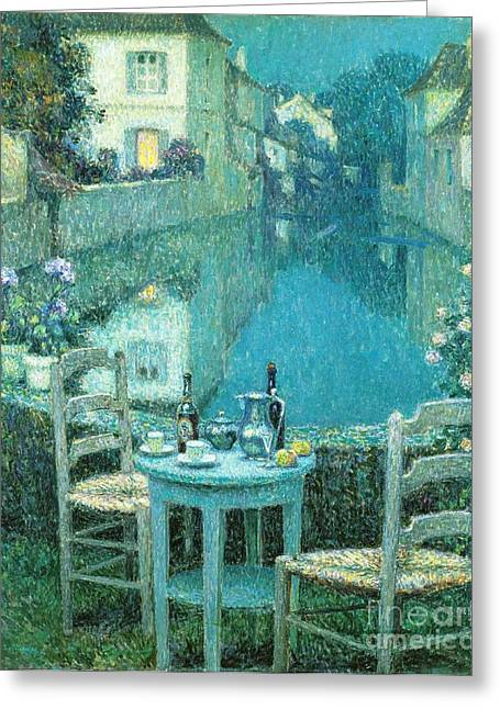Wine For Two Greeting Cards - Small Table in Evening Dusk Greeting Card by Pg Reproductions