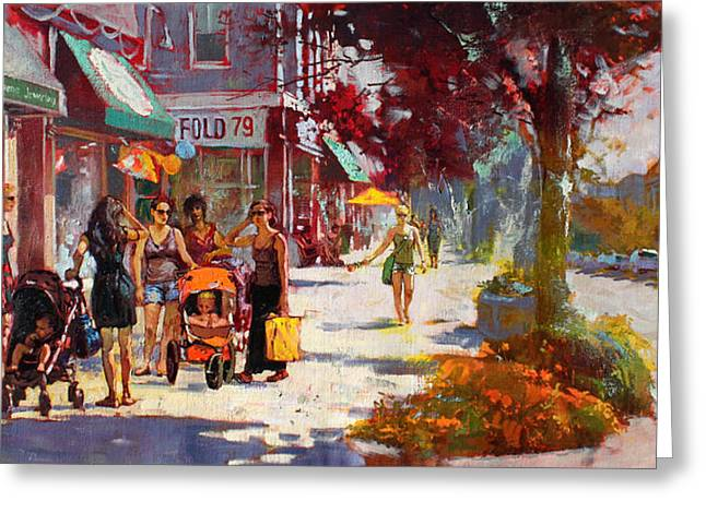 Small Talk in Elmwood Ave Greeting Card by Ylli Haruni