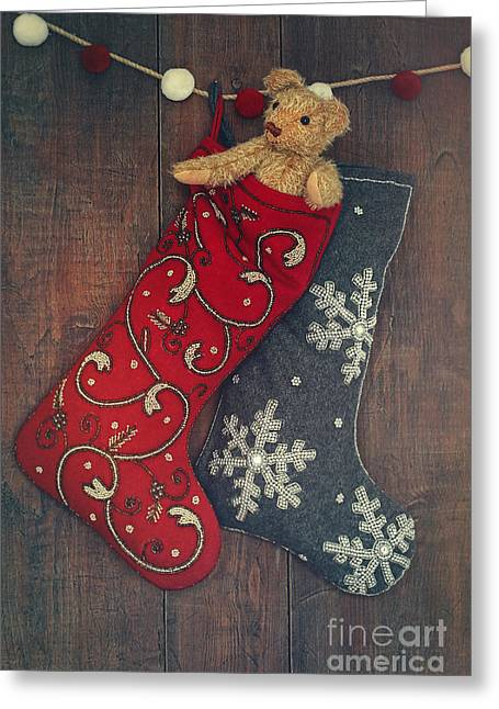 Old Objects Greeting Cards - Small teddy bear in stocking for Christmas Greeting Card by Sandra Cunningham